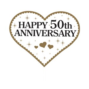 50th Gold Sparkling Wedding Anniversary Photo Props