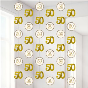 50th Gold Sparkling Wedding Anniversary String Decoration