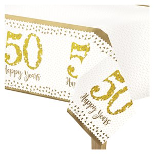50th Gold Sparkling Wedding Anniversary Plastic Tablecover - 1.2m x 1.8m