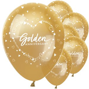 50th Golden Wedding Anniversary Balloons - 12