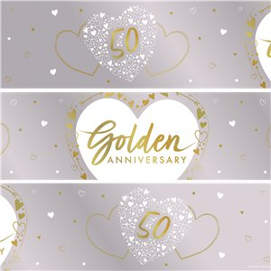 50th Golden Wedding Anniversary Foil Banner - 2.74m