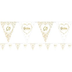 50th Golden Wedding Anniversary Flag Bunting - 3.7m