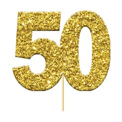 50th Golden Wedding Anniversary Glitter Cupcake Toppers