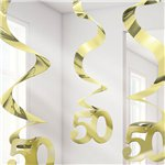 50th Gold Hanging Swirls Party Decoration