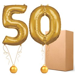 "50 Gold 26"" Number Balloons - Delivered Inflated"