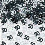 50th Birthday Black & Silver Table/Invite Confetti