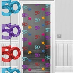 50th Multi-coloured Door Curtain Decoration - 1.95m