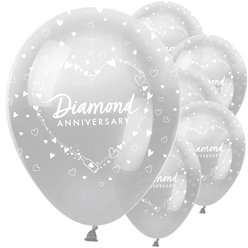 "60th Diamond Wedding Anniversary Balloons - 12"" Latex"