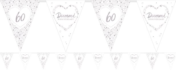 60th Diamond Wedding Anniversary Flag Bunting - 3.7m