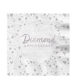 60th Diamond Wedding Anniversary Napkins - 33cm