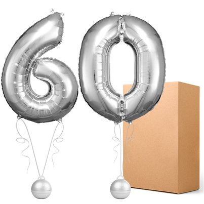 "60 Silver 26"" Number Balloons - Delivered Inflated"