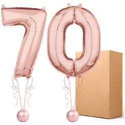"Rose Gold  26"" Number 70  Bouquet - Delivered Inflated"