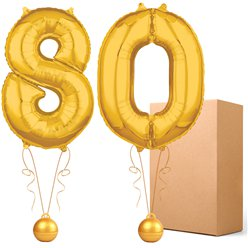 "Gold  26"" Number 80 Bouquet - Delivered Inflated"