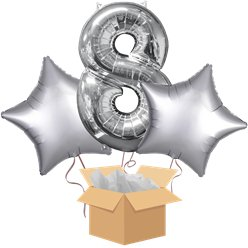 "Silver 26"" Number 8 and Stars Bouquet - Delivered Inflated"