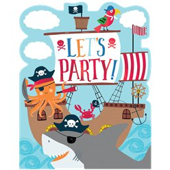 Ahoy Birthday Invitations with Stickers