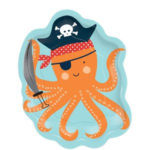Ahoy Birthday Octopus Shaped Plates - 18cm