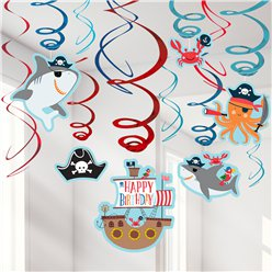 Ahoy Birthday Swirl Decorations - 17.7cm