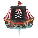 "Pirate Ship Balloon on a Stick - 14"" Foil"