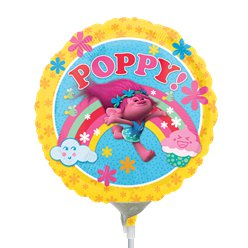 "Trolls Poppy Round Airfilled Balloon - 9"" Foil Mini"