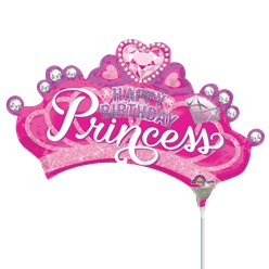 "Pink Princess Crown Airfilled Balloon - 9"" Foil Mini"