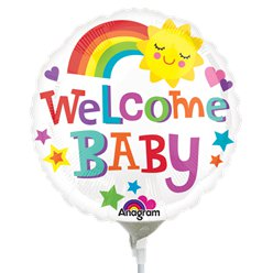 "Welcome Baby Rainbow Airfilled Balloon - 9"" Foil Mini"