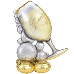 "Bubbly Wine Glass AirLoonz Balloon -Air Fill 51"" Foil"