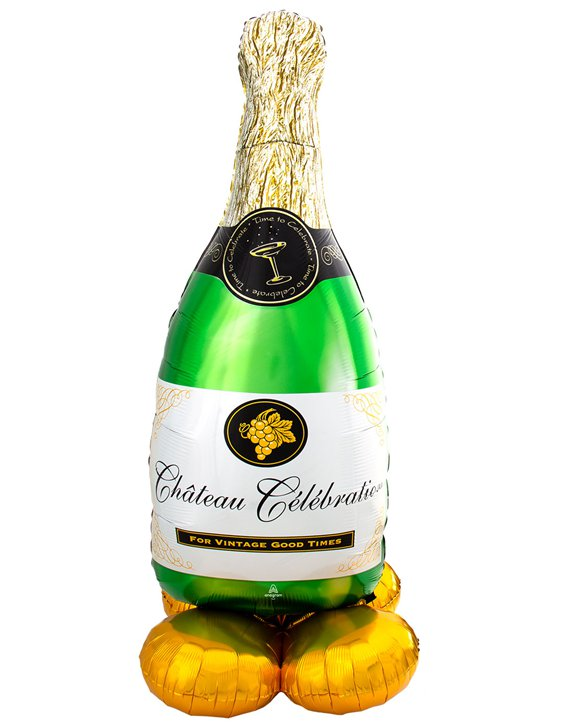 "Bubbly Wine Bottle AirLoonz Balloon - 60"" Foil"