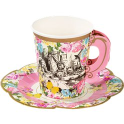 Alice in Wonderland Paper Cups with Saucers