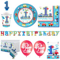 All Aboard 1st Birthday Boy Deluxe Party Pack