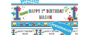 All Aboard 1st Birthday Personalised Banner - 1.65m