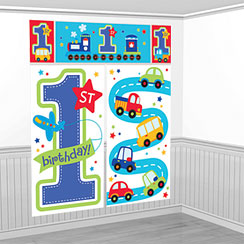 All Aboard 1st Birthday Scene Setter - 1.6m
