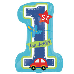 "All Aboard 1st Birthday Supershape Balloon - 28"" Foil"