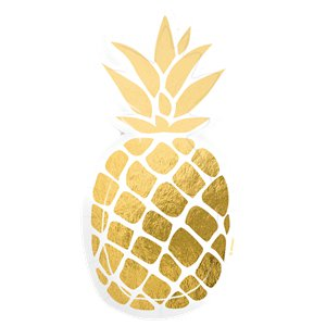 Gold Foil Pineapple Shaped Paper Plates - 18cm