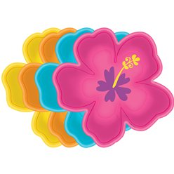 Hibiscus Shaped Paper Plates - 26cm