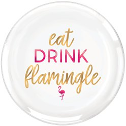 Aloha Summer Flamingle Serving Plate - 35cm Plastic