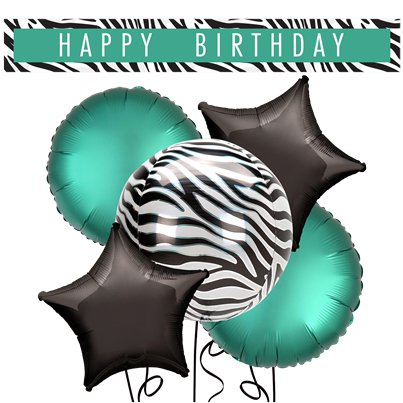 Zebra Balloon & Banners Decorating Kit