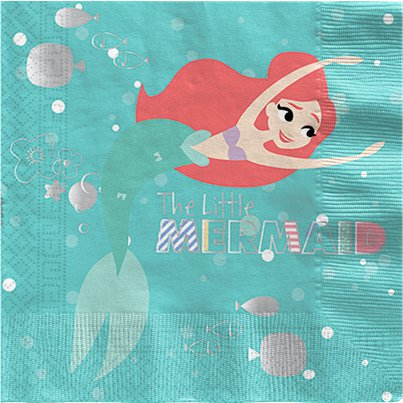 Ariel Under The Sea Paper Napkins - 33cm