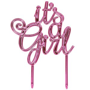 It's A Girl Metallic Pink Baby Shower Cake Topper