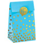 Baby Shower Blue Foil Dot Paper Bags