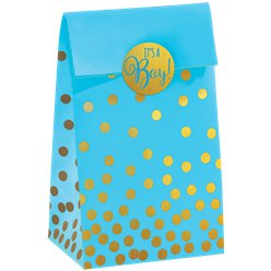 Baby Shower Blue Foil Dot Paper Treat Bags