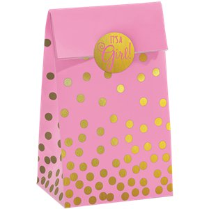 Baby Shower Pink Foil Dot Paper Bags