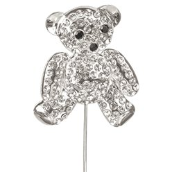 Diamante Teddy Bear on Stem - 6cm