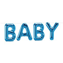 Baby Blue Foil Balloon Bunting - 24 x 35cm