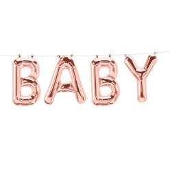 Baby Rose Gold Foil Balloon Bunting - 24 x 35cm