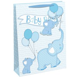 Baby Elephant Blue Gift Bag - Extra Large