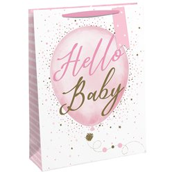 Hello Baby Pink Gift Bag - Extra Large