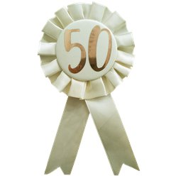 Rose Gold 50th Rosette Badge