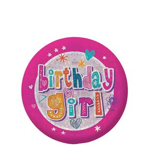 Happy Birthday Holographic Girl Badge - 5.5cm