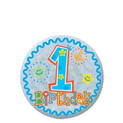 Happy 1st Birthday Boy Badge - 5.5cm