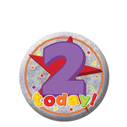 Happy 2nd Birthday Badge - 5.5cm